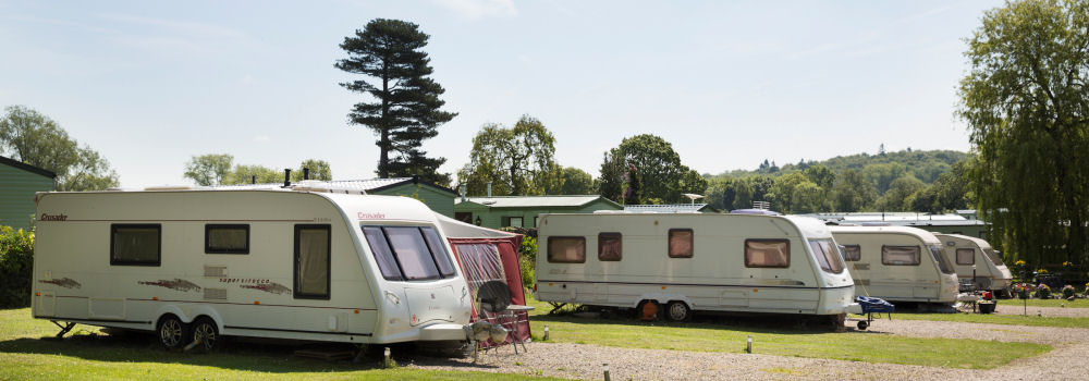 Touring caravans at the Lakeside Holiday Park